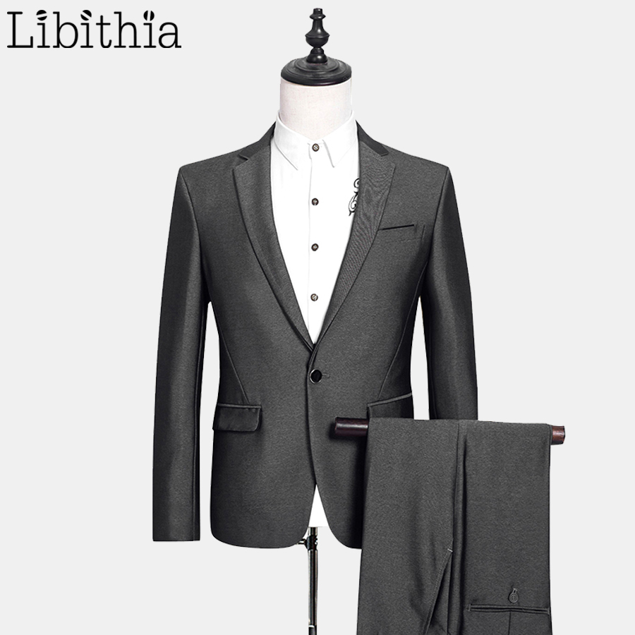 (Jacket + Pant) Mens Wool Suit Costume Homme Men's Suits With Pants Slim Fit Wedding Suits For Men Clothing Male Silver E542