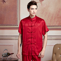 Vintage Pattern Red Chinese Style Men Summer Satin Rayon Shirt Novelty Kung Fu Tai Chi Shirt Tops Size M L XL XXL XXXL MNS01-2