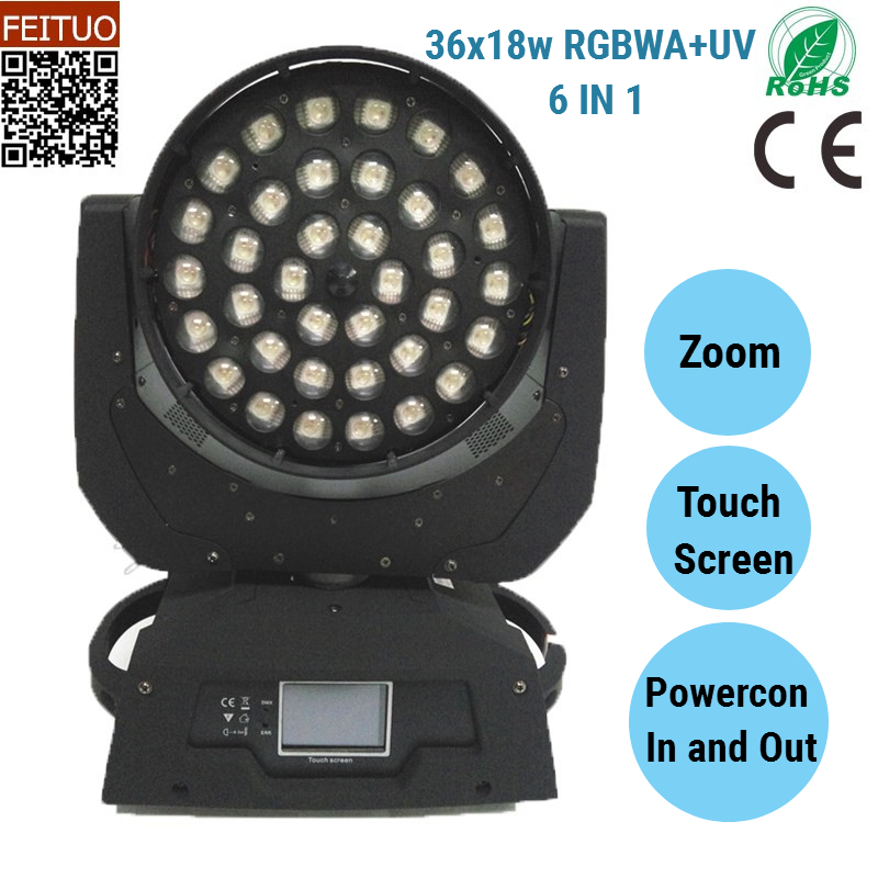 Hot Sell RGBWA UV 36 LED Moving Head Wash 18w DJ Equipment Stage Lighting Touch Screen DMX Zoom Moving Head Light