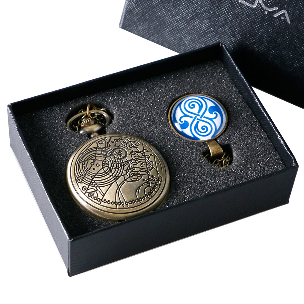 Steampunk 1 Set Doctor Who Theme 3 Colors Quartz Pocket Watch With Dr. Who Symbols Design Glass Dome Pendant Necklace & Gift Box