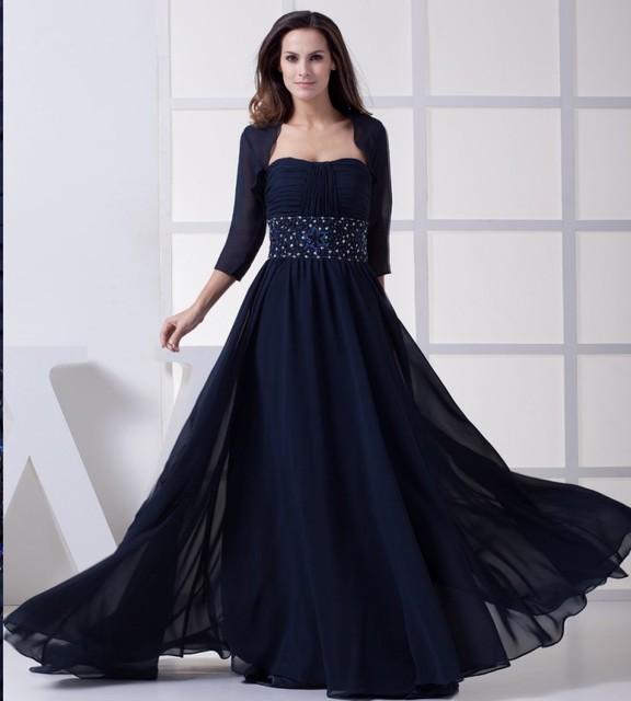 Azul marinho de Chiffon Mãe Dos Vestidos de Noiva Com Jaqueta Strapless Plissados Beading Lantejoulas Mulheres Formal Vestidos Robe De Soiree