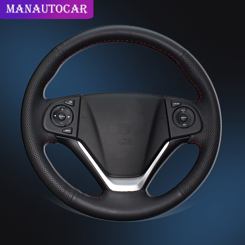 Auto Braid On The Steering Wheel Cover for Honda CRV CR V 2012 2015 Hand Sewing Car Steering Wheel Cover Interior Accessories-in Steering Covers from Automobiles & Motorcycles