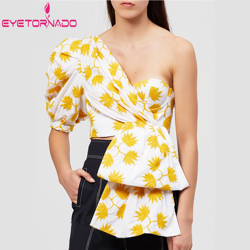 Summer Floral Print Women Shirt Fashion Puff Sleeve One Shoulder Irregular Crop Top Blouse Bow Sexy