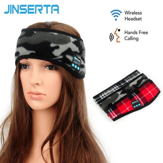 JINSERTA Wireless Bluetooth Music Sports Headband Headphones Sleeping Eye Mask Stereo Hands-free Running Earphones with Mic