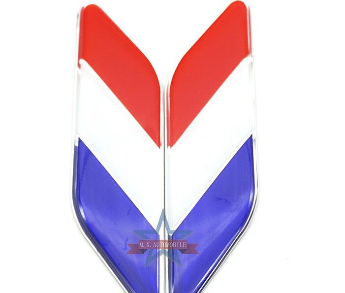 Pair Metal USA American Flag Car Fender Emblem Badge Decals Sticker Fairing