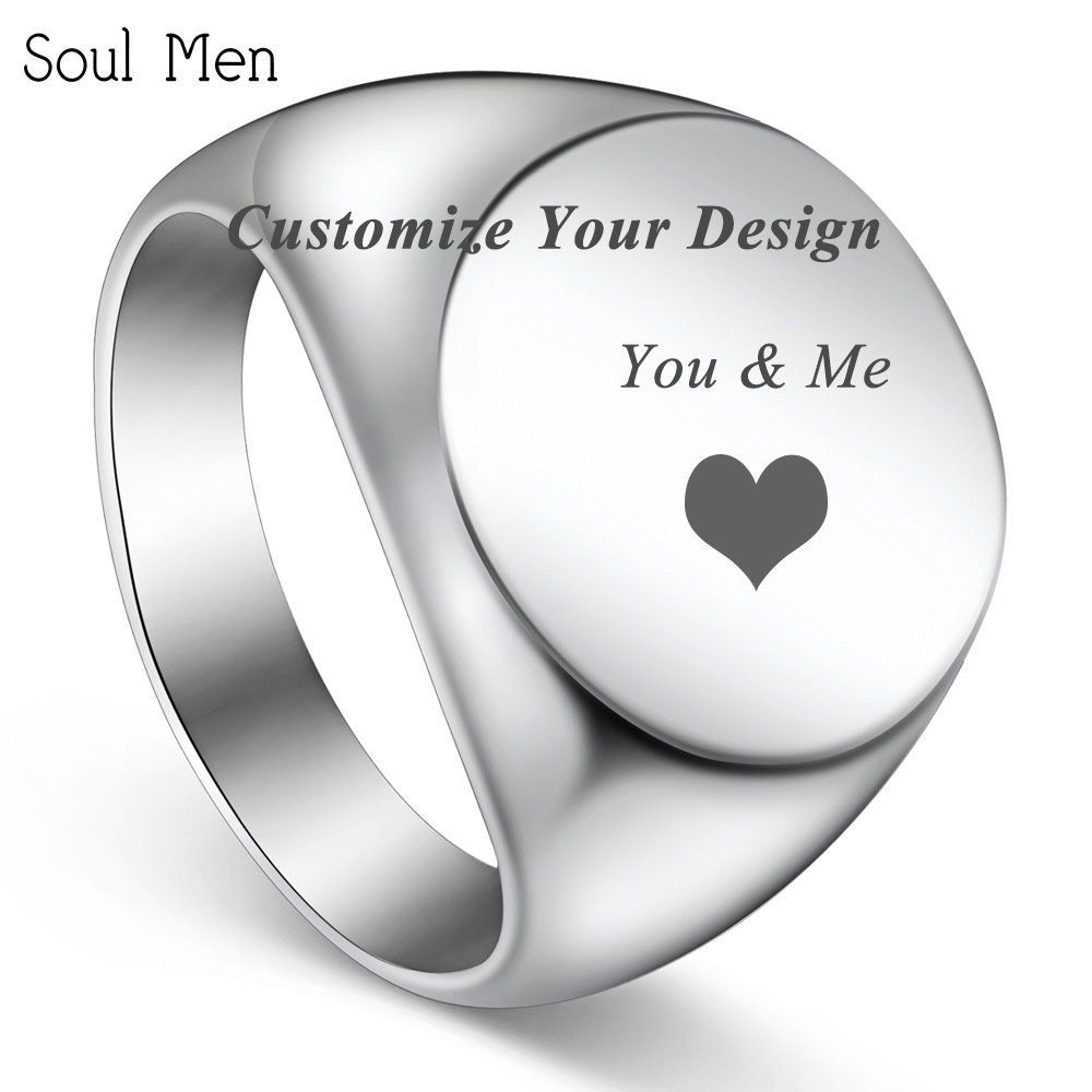 Customize Your Style Logo Image & Photo Stainless Steel Signet Circle Ring Record Love Anniversary punk Cool Men & Women Jewelry punk style hollow out stainless steel crucifix ring for men