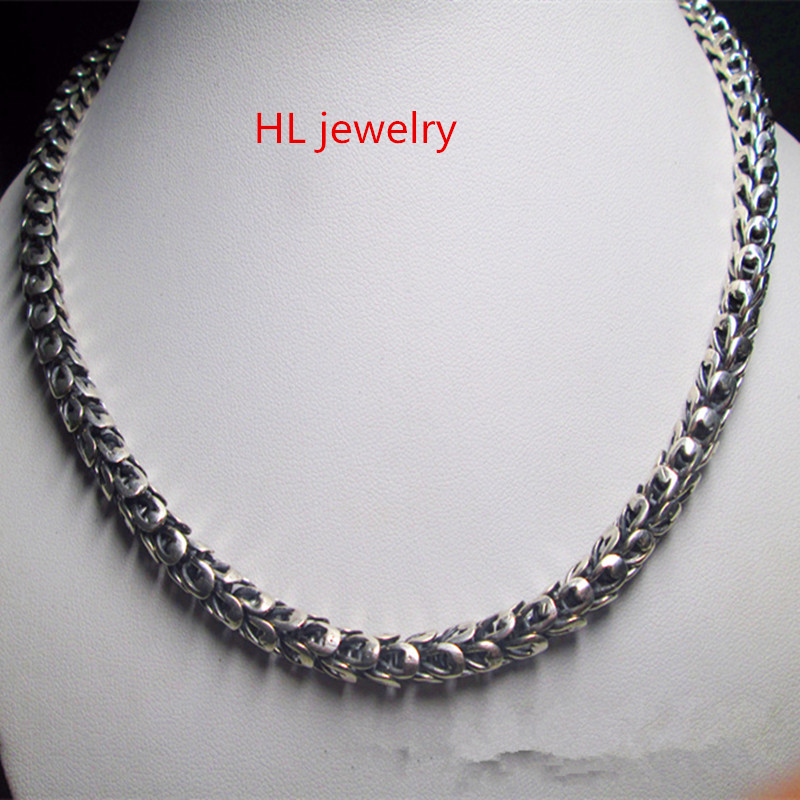 60cm free shipping Wholesale 100 Real Pure 925 Sterling Silver Necklace7MM Thick Chain Men Gift Thai