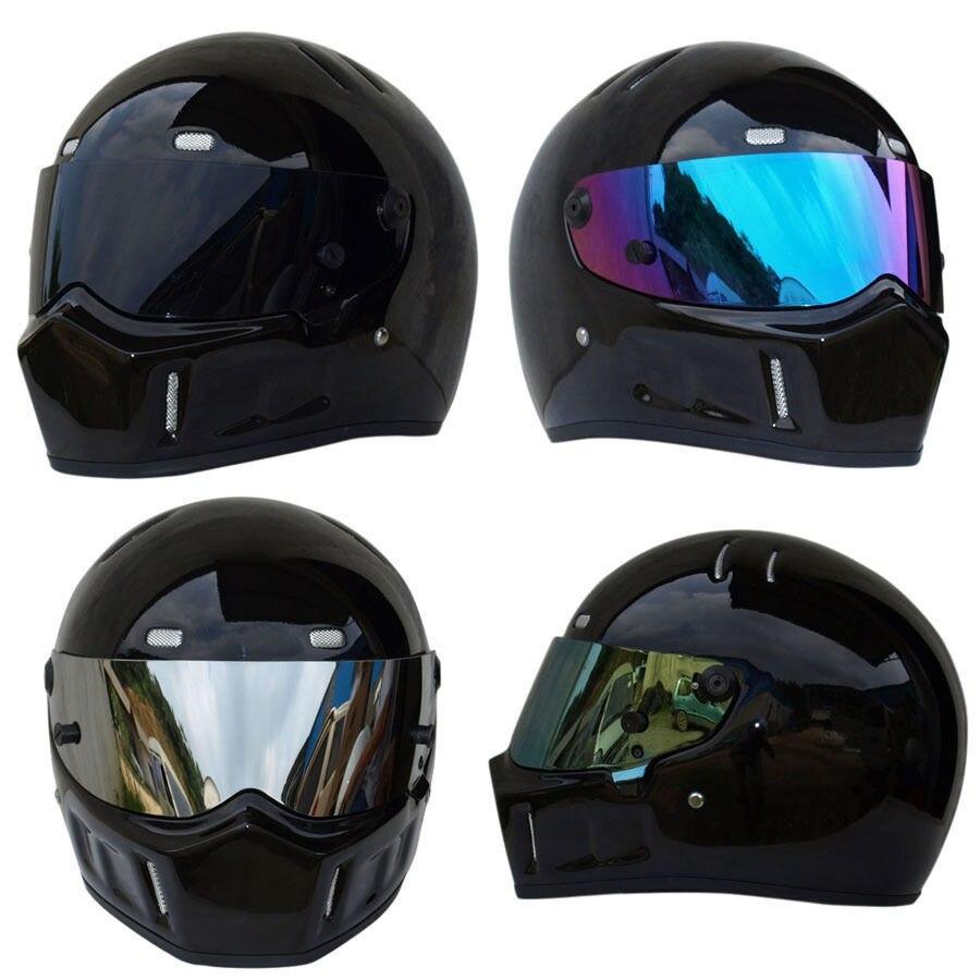 Triclicks Sport Moto MX VTT Dirt Bike Casque Brillant Noir Rue Kart Bandit Plein Visage Casques De Protection Motocross Casque
