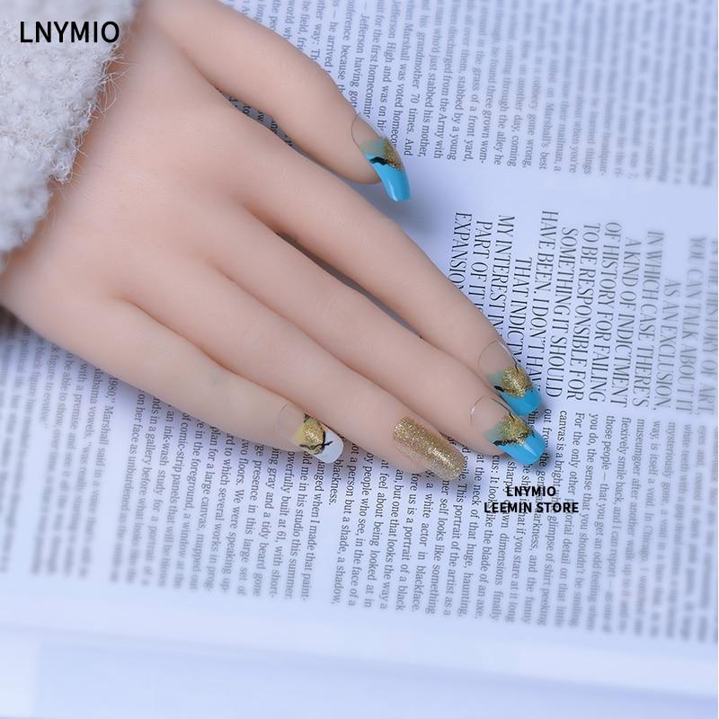 false nails long nail tips golden powder blue and green painting tip ...