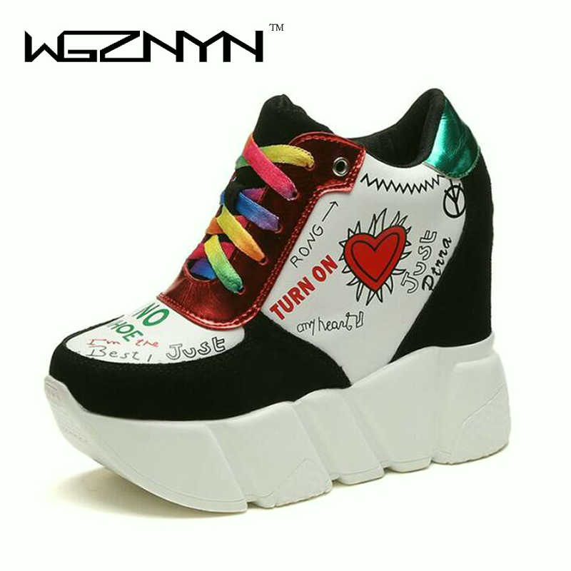 Women High Heels 2018 Fashion Lace Up Wedges Pumps 11 CM Heels Spring Autumn Increased With Platform Shoes Woman sneakers W005