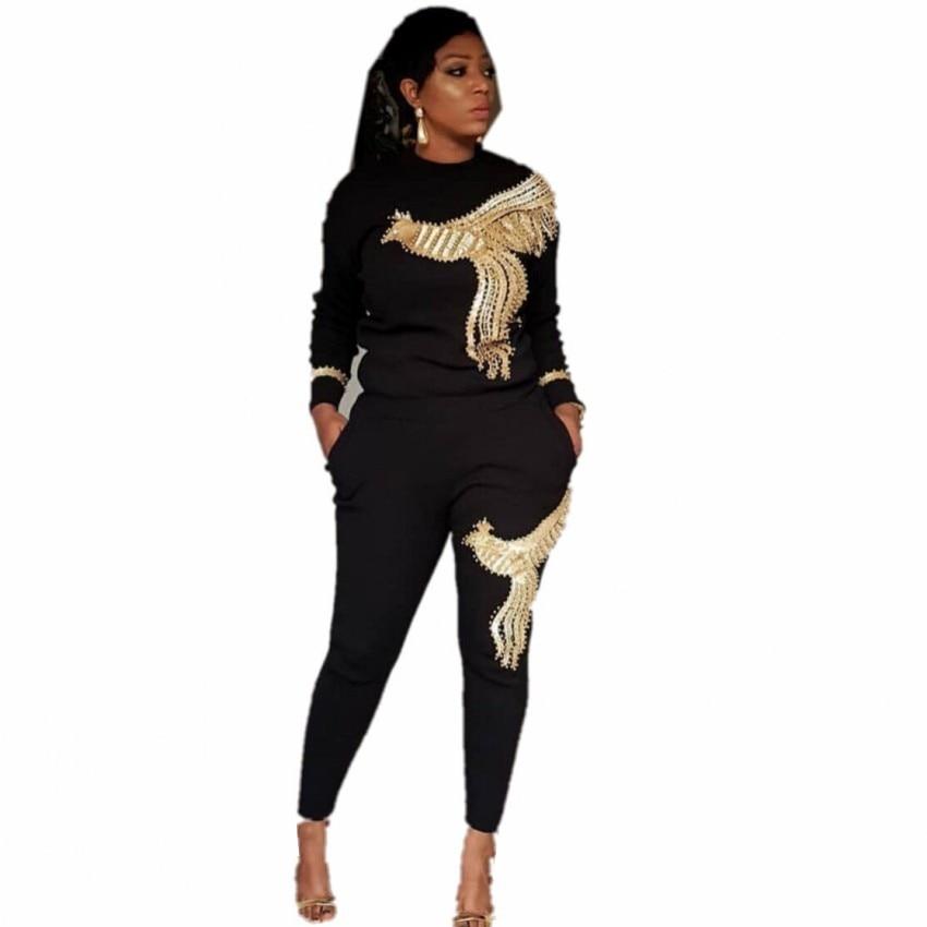 2019 Winter Spring Long Sleeve Tracksuit Sportswear Office Phoenix Sequined Sweatshirt+ Pant 2pcs Women's Set Outfits Suit AM306