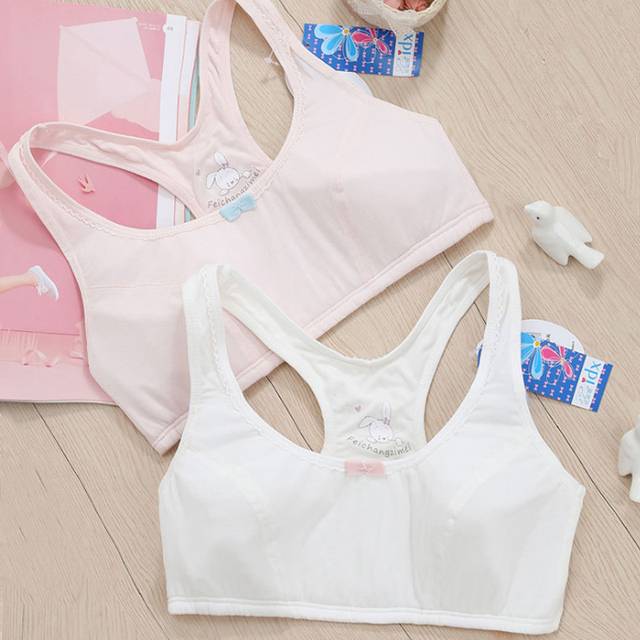 New  Feichangzimei Teen Girl Underwear Sport Bra White/Pink A Cup Cotton Comfortable Training Bras  2 Pack For Sport -18022-N