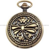 Moda Retro Bronze Oco Libélula de Ouro Caçador dos homens Analógicos Senhora Jóias Pingente Camisola Cadeia Fob Quartzo Relógio de Bolso Relógio/WPK089