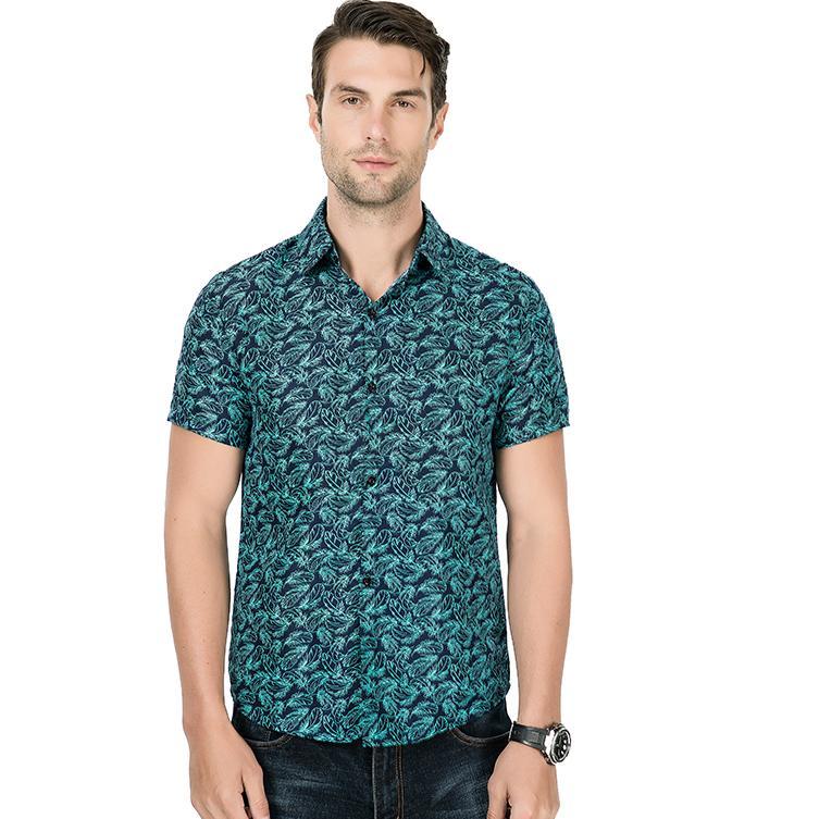 Hawaiian Shirt Mens Clothing Social Men 39 s Shirts Feather Print Blouse Man Short sleeves Slim fit Green Red Gray in Casual Shirts from Men 39 s Clothing