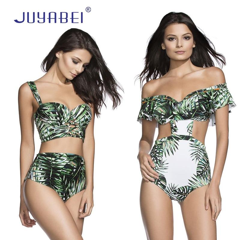 универсальная коляска caretto angel leaves collection 09 green JUYABEI Green Bamboo Leaves Bikini 2017 Sexy Push Up Swimsuit Ruffles Vintage High Waist Swimwear Bandage Bathing Suit Biquini