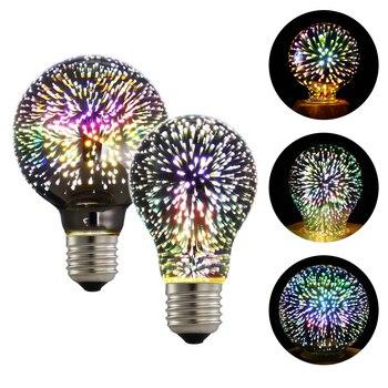 DONWEI noche de vacaciones 3D fuegos artificiales efecto decorativo colorido A60 G80 5W E27 bombilla LED para Navidad Año Nuevo boda