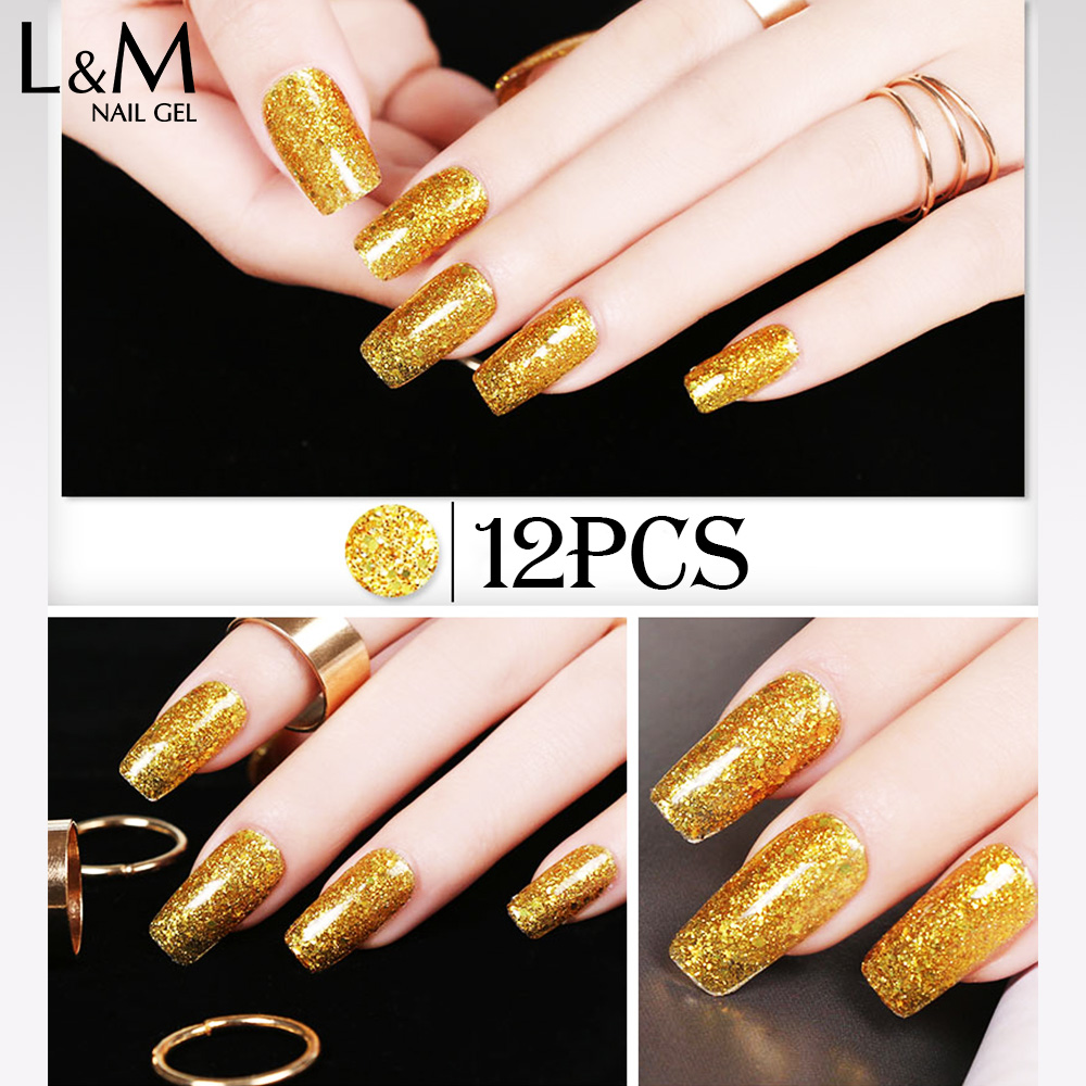 12pcs Free Shipping New Arrival Lvmay Diamond Glitter Nail Polish Uv ...