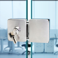 100%New Glass door lock Push Lock For Home Office Square gate latch professional Lock