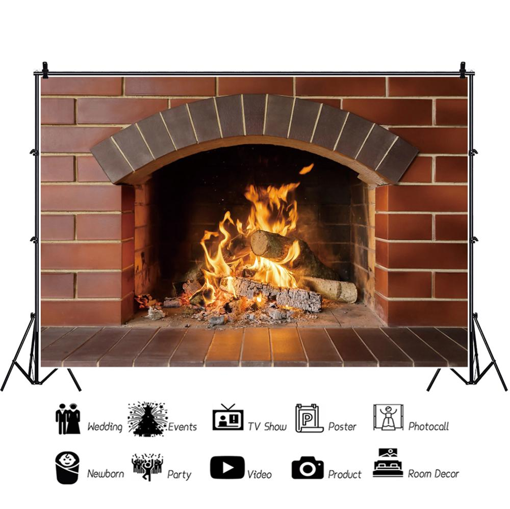 Vinyl Backdrop For Photography Brick Fireplace Wood Burning Fire Country Wallpaper Photography Background Photocall Photo Studio in Background from Consumer Electronics