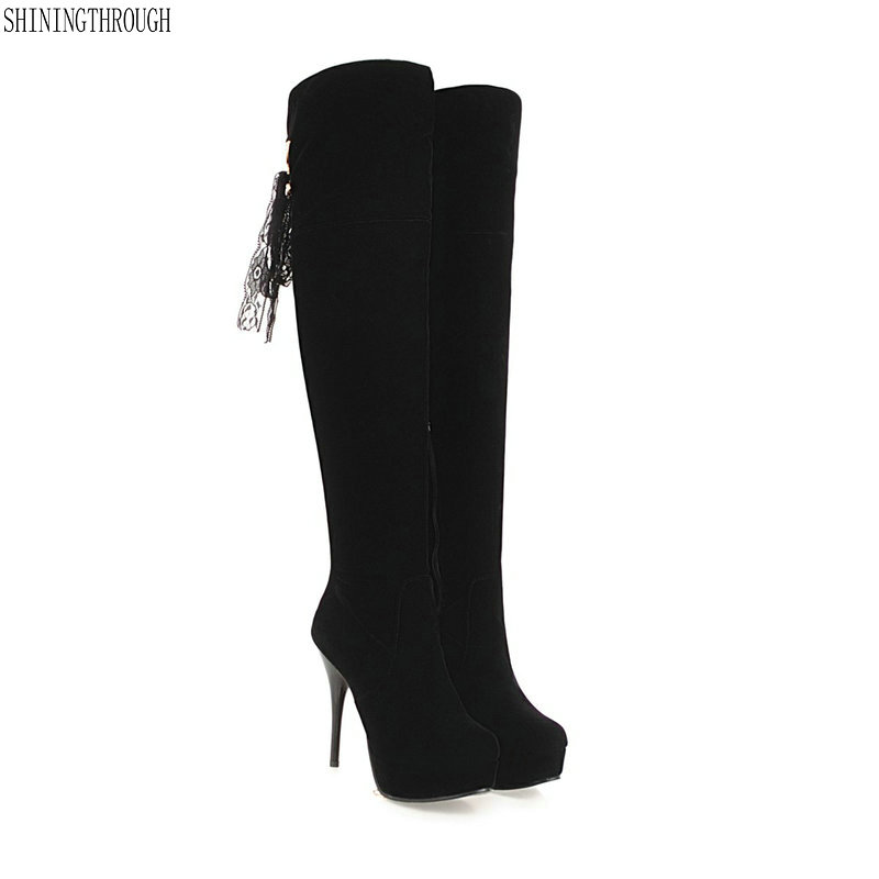 New 12cm super high heels over the knee high women boots lace up riband ladies boots party dress shoes woman large size 46 47 48 new sexy women boots winter over the knee high boots party dress boots woman high heels snow boots women shoes large size 34 43