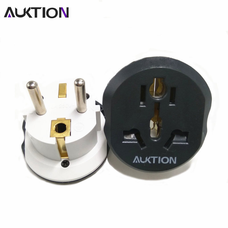 AUKTION Universal EU Plug Adapter 16A Electrical Plugs International Power Socket Converter AC 250V For Home Office Travel