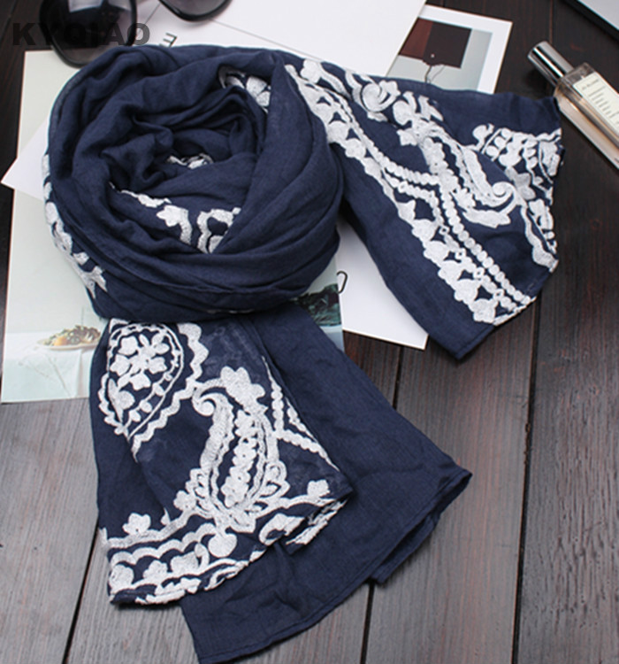 KYQIAO women lace scarfs for ladies autumn spring Mexico style brand vintage long dark blue lace patchwork scarf hair scarf