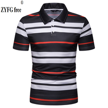 2019 hot high quality mens t-shirt turn-down collar striped pattern T-shirts casual design style youth male bottoming T-shirt