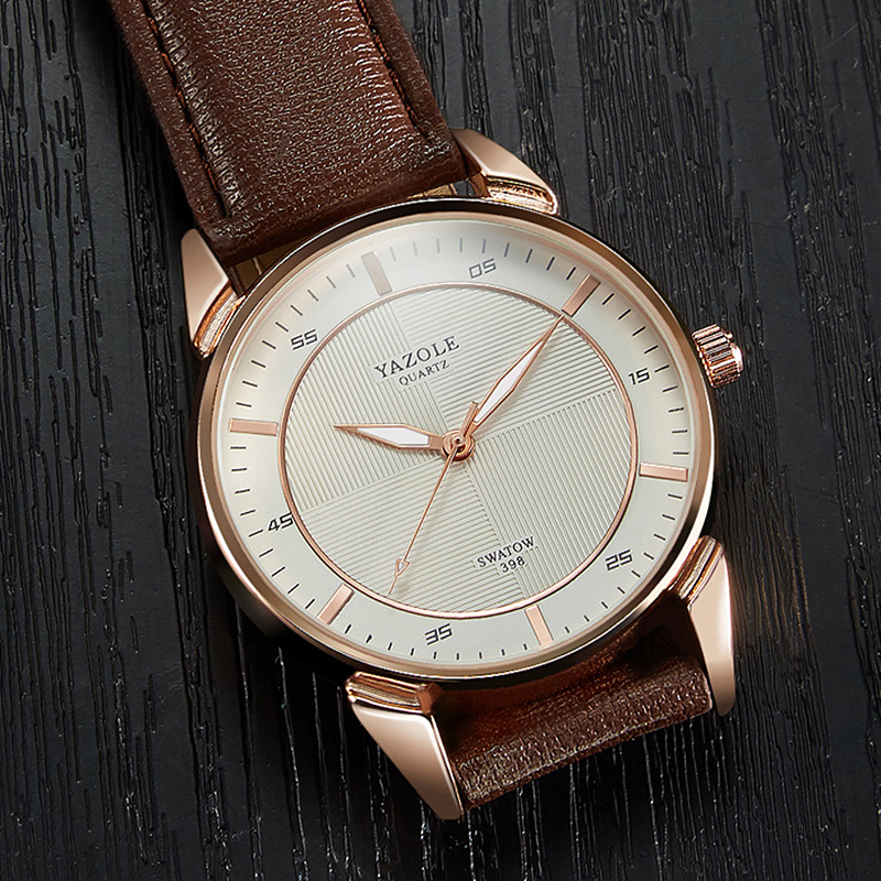 YAZOLE Men Casual Simple leather Watch 30M Waterproof Luxury Brand Quartz Watches Relogio masculino Gold Clock male Wristwatch