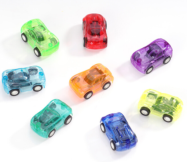 wholsale childrens small transparent plastic kids toys hobbies mini pull back car diecasts vehicles 8pcs