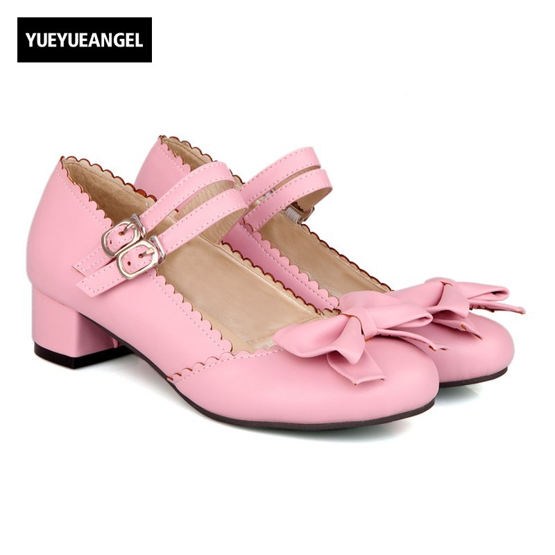 New Chic Womens Sweet Girls Mary Jane Round Toe Low Heels Strappy Bowtie Shoes Plus Size 32-43 Lady Appointment Cute Shoes new arrival shallow mouth round toe women flat shoes sweet lady girls bowtie metal slip on shoes cute boat shoes plus size 35 41