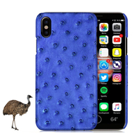 For IPhone X Case Elegant Natural Ostrich Skin Cover Genuine Leather Cases Fundas Hard Back Case