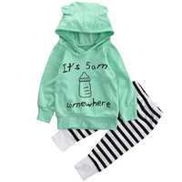 2017 New 1Set Baby Sweatshirt Top Long Pants Outfits Clothes Wholesale T85