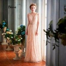Finove вечернее платье, длинное сексуальное платье с глубоким v-образным вырезом и спиной, шикарное платье с поясом, бисероплетение, перья, вечерние женские платья, Robe de soiree
