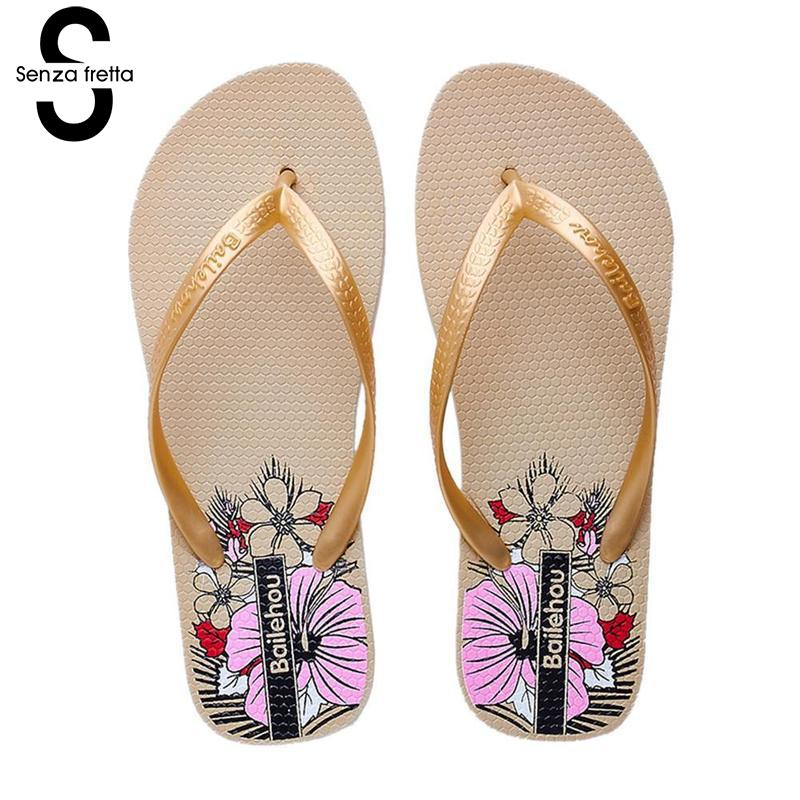Senza Fretta Women Summer Flip Flops Slippers Fashion Beach Non-slip Flat Flip Flops Summer Beach Slippers Outside Women Shoes coolsa women s summer indoor flat solid non slip massage slippers lightweight lady home slippers beach slippers women flip flops