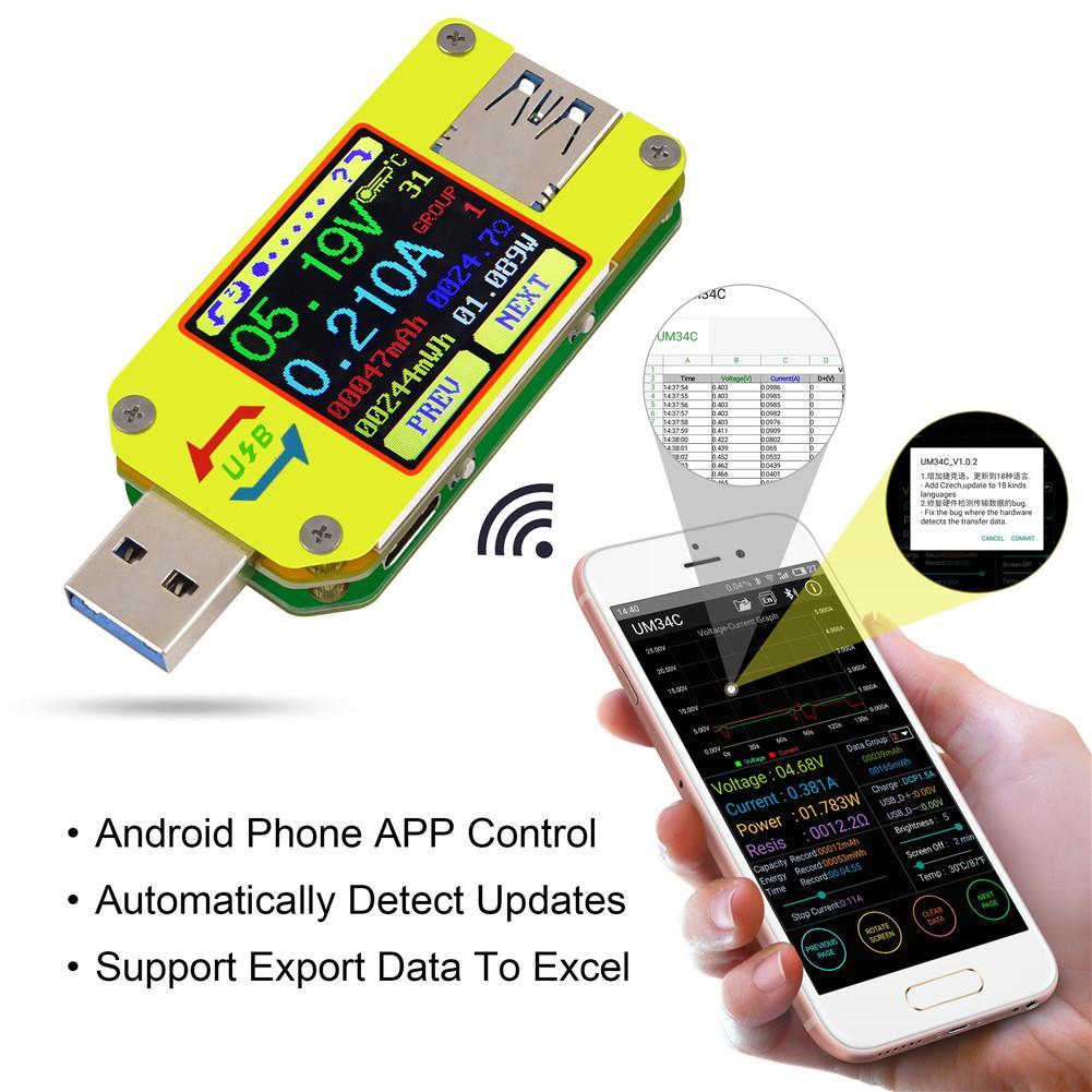 USB 3.0 Type-C UM34 / UM34C For DC Voltmeter Amperemeter Voltage Meter Bluetooth Communication Version sj 028va 0 3 6 digital dc double show voltmeter amperemeter black