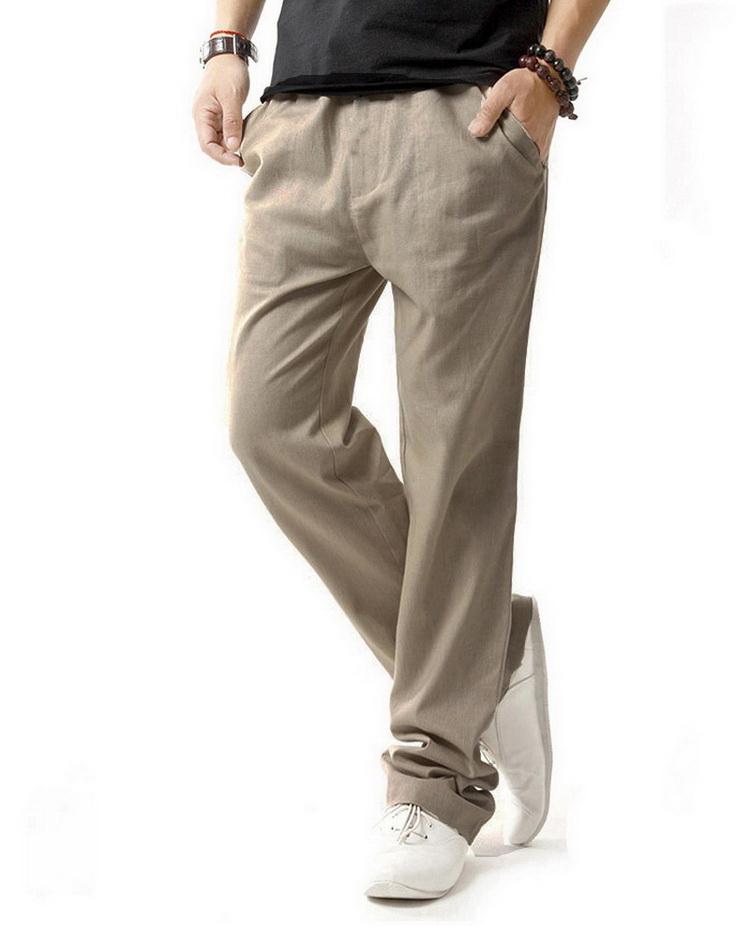 Pantalon pour hommes en lin et coton beige de 3/4