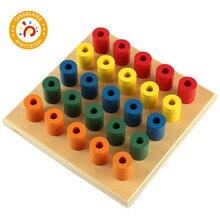 Montessori Toys Colorful Socket Cylinder Blocks Wood Toddler Wooden For Children Development Educational