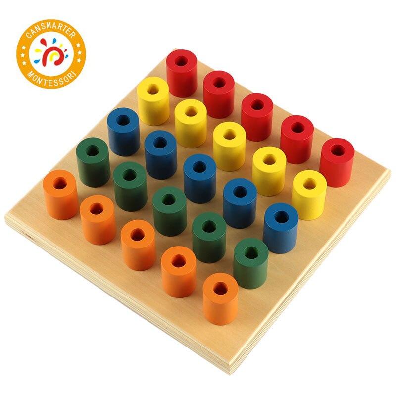 Montessori jouets coloré douille cylindre blocs bois bambin en bois jouets pour enfants développement éducatif
