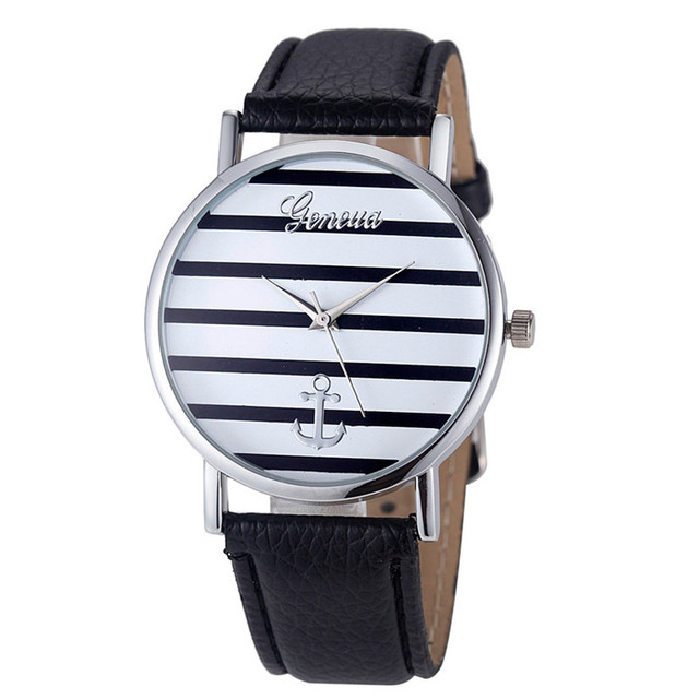Striped Anchor Dial Sports New Women Mens Watches Top Brand Luxury Men Watches Women Lovers Leather Quartz Casual Dress