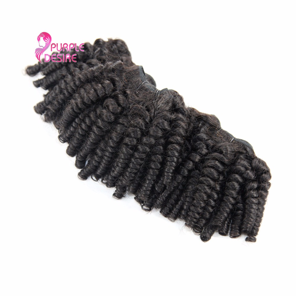 4 Bundles Malaysian Fummi Hair Natural Color Bouncy Curly Human Hair Weave Non Remy Hair Extensions 8-30Inch No Shedding