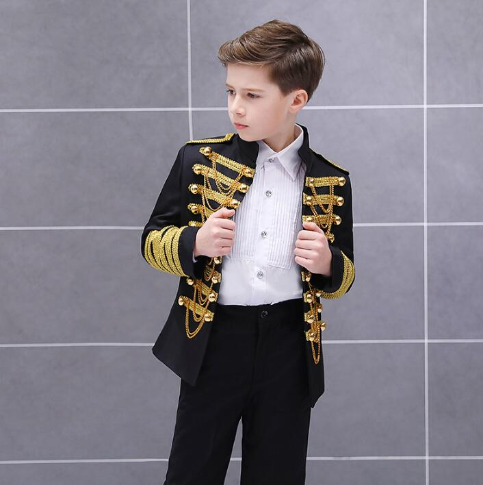 Europe Style Palace Boy Set Shoot Suits Prince Stage Performance Jacket Pants Shirt