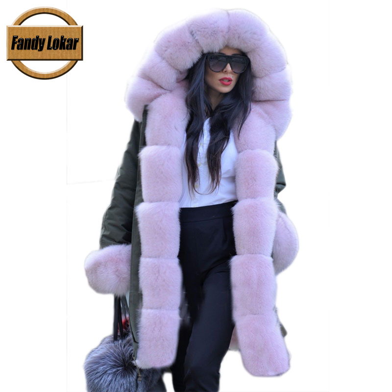 Fandy Lokar FL Fur Parka Winter Women Jacket Fashion Genuine Fox With Real Rabbit Lining Warm Woman Coats