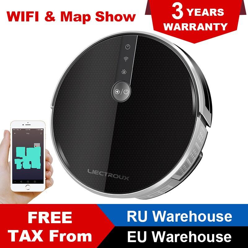 LIECTROUX C30B Роботизированный пылесос 2D карта навигации, 3000 Pa всасывания, память, карта показана на WiFi приложение, 350 мл Электрический резервуар ...