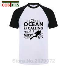 37db955d Humor The Ocean Is Calling and I Must Go T Shirt Men Funny Scuba Diver T- shirt Novelty adult Diving brand clothing Urban apparel