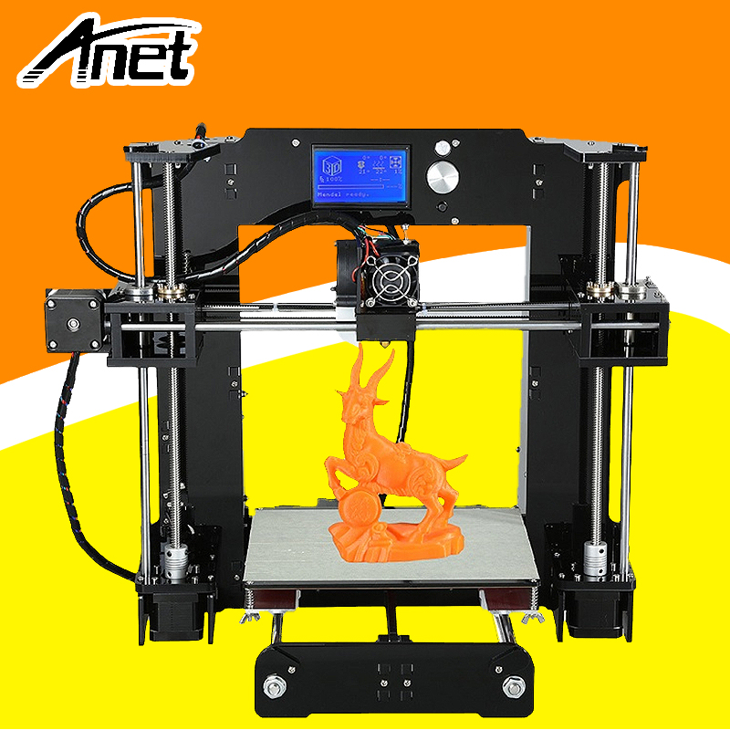Anet High Precision A6 3D Printer Easy Assembly Prusa i3 Reprap DIY Kit Hotbed LCD Screen Nozzle 16GB SD Card Ship From Moscow additional soplo nozzle 3d printer kit new prusa i3 reprap anet a6 a8 sd card pla plastic as gifts express shipping from moscow