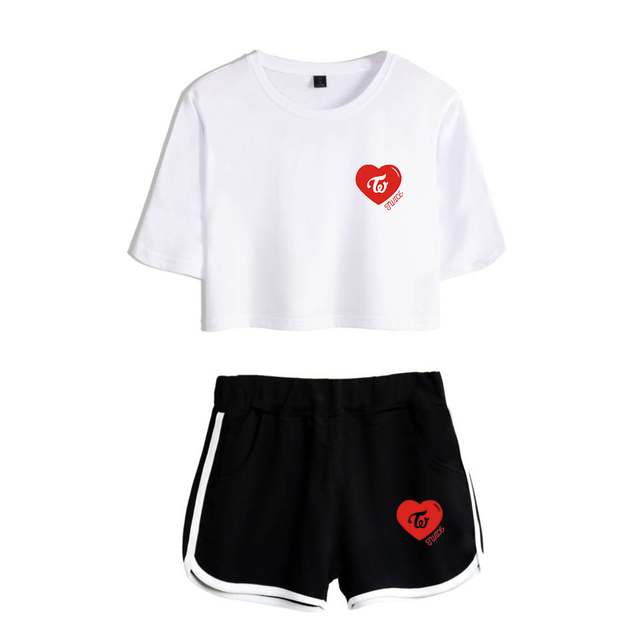 VAGROVSY Summer Kpop Twice Two Piece Set Women Twice What Is Love Sexy Crop Tops + Shorts Pants Cotton Tracksuit Women