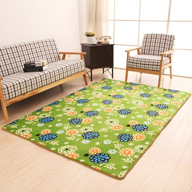Green Flowers Decorated Carpet Garden Terrace Children S Room Dressing Restaurant Rugs Mats Free Shipping
