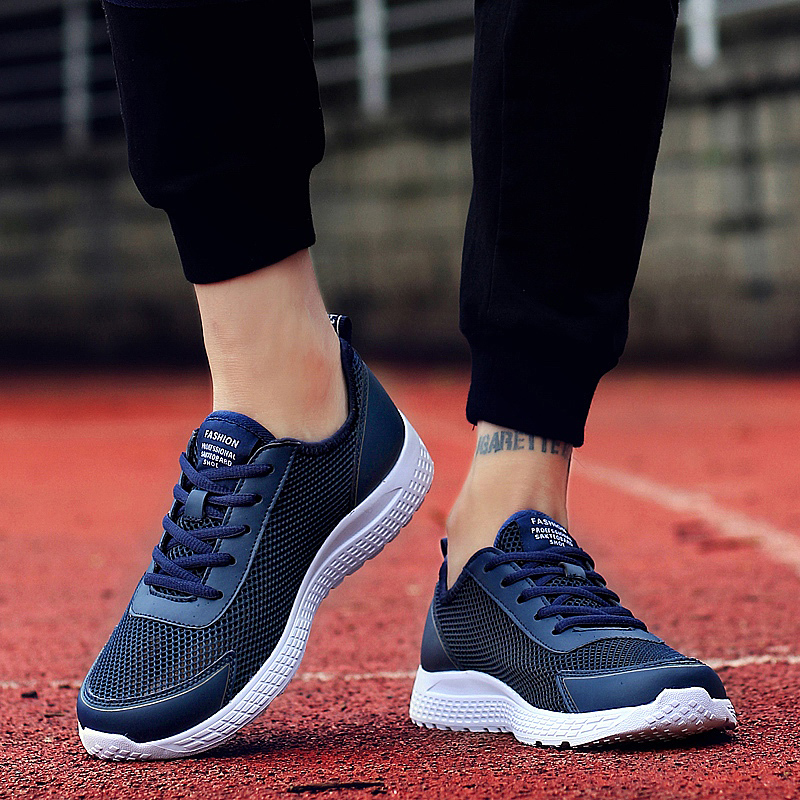 OZERSK Brand Men Casual Shoes Men Classic Black Gym Shoes Sneakers Flats Mesh Lace Up High Quality Breathable Plus Size 38~48