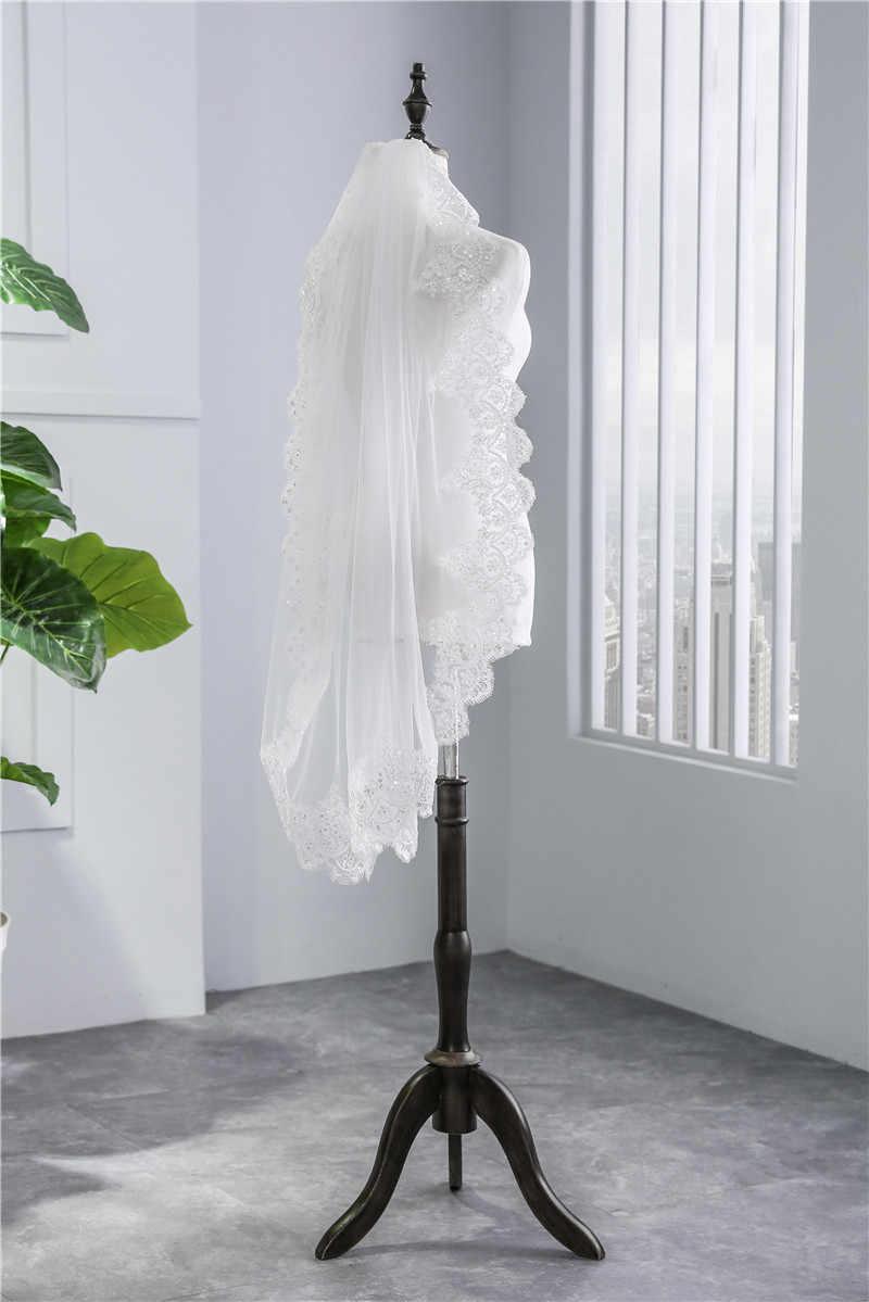 JaneVini ヴィンテージ 1 層ショートウェディングベールくしアップリケエッジスパンコールホワイトチュールブライダルベールウェディングアクセサリー