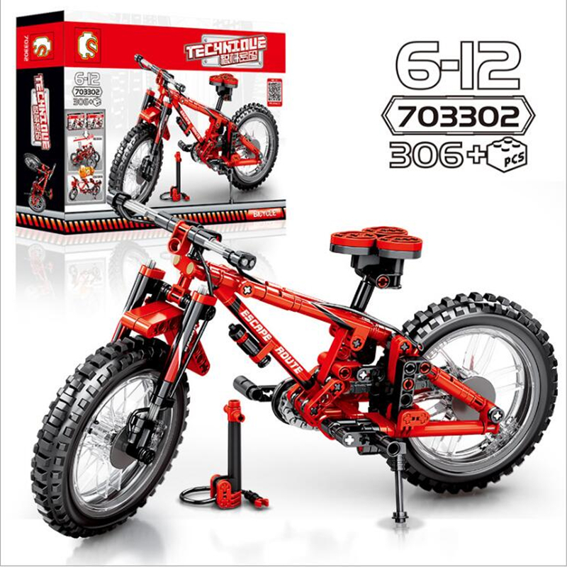 306pcs Bricks Designer Creative Classic DIY Mountain Bike Building Blocks Mechanical Password Cycling Educational Toys Kids Gift